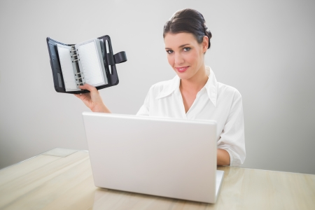 datebook: Smiling businesswoman working on laptop holding datebook in bright office Stock Photo