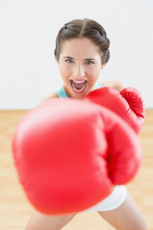 Portrait of a beautiful young woman in red boxing gloves at fitness studio photo