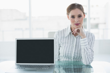 Serious lovely businesswoman presenting notebook sitting at her desk looking at camera photo