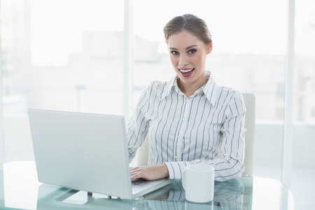 Gleeful lovely chic businesswoman sitting at her desk using her notebook smiling at camera photo