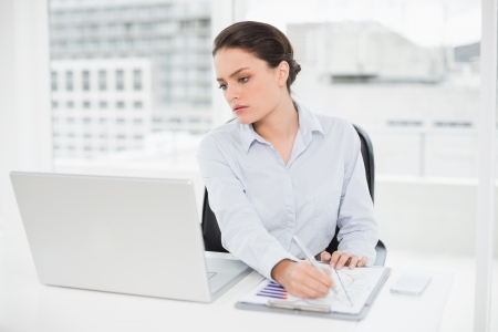 Elegant businesswoman with graphs and laptop in bright office photo