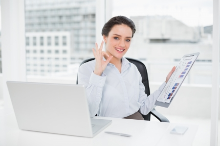 Portrait of a happy elegant businesswoman with graphs and laptop gesturing okay sign in bright office photo