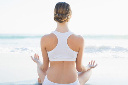 Rear view of calm young woman meditating on the beach  photo