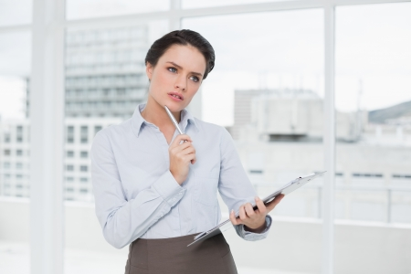 Thoughtful elegant young businesswoman with clipboard in a bright office Stock Photo - 25453043