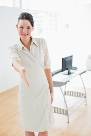 business handshake: Portrait of an elegant businesswoman offering a handshake in the office Stock Photo