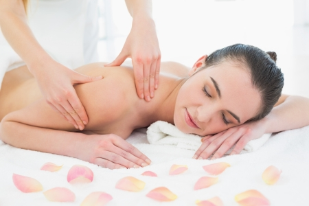 Beautiful young woman enjoying back massage at beauty spa