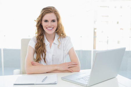 Portrait of a smiling businesswoman with laptop sitting at desk in a bright office photo