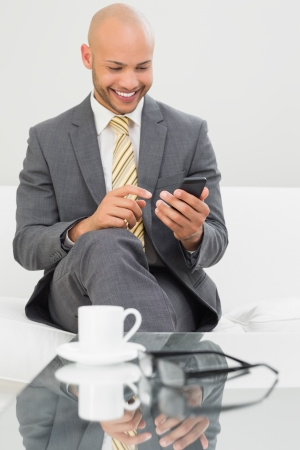 Smiling elegant young businessman text messaging on sofa at home photo