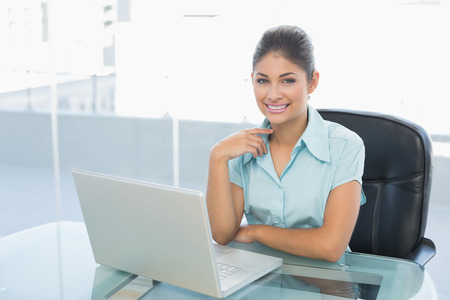 Portrait of an elegant businesswoman with laptop at desk in a bright office photo