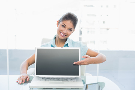 Portrait of an elegant businesswoman displaying laptop on desk in a bright office photo