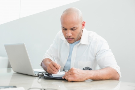Casual serious young man with laptop writing in diary at home photo