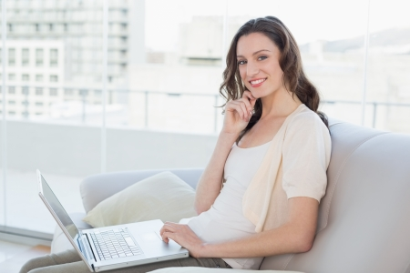 Side view portrait of a casual young woman using laptop on sofa in a bright house photo