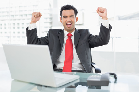 Elegant businessman cheering with clenched fists in front of laptop at office desk photo