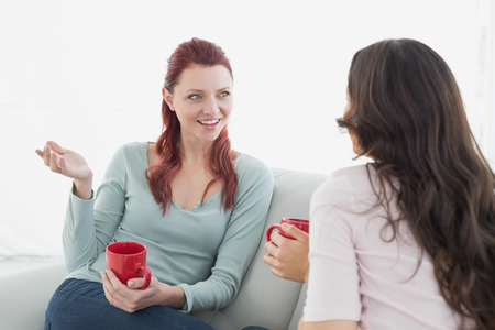 Two young female friends enjoying a chat with red coffee cups in the living room at home photo