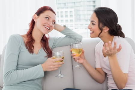 Two young female friends with wine glasses chatting while sitting on sofa at home photo