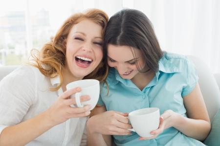 amigas conversando: Dos felices j�venes amigas con las tazas de caf� disfrutando de una conversaci�n en el sal�n de su casa