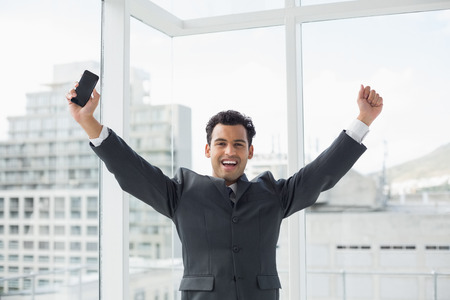 Portrait of a cheerful elegant young businessman cheering in a bright office Stock Photo