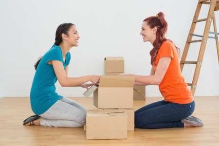 Side view of two happy friends moving together in a new house and unwrapping boxes photo