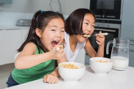 Two smiling young girls eating cereals in the kitchen at home Reklamní fotografie