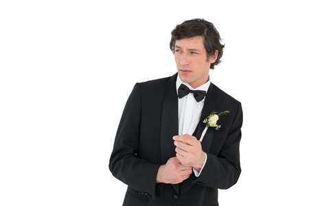 Groom getting ready for his wedding on white background Stock Photo - 28043273