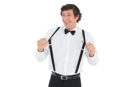 suspender: Happy groom stretching suspenders isolated over white background Stock Photo