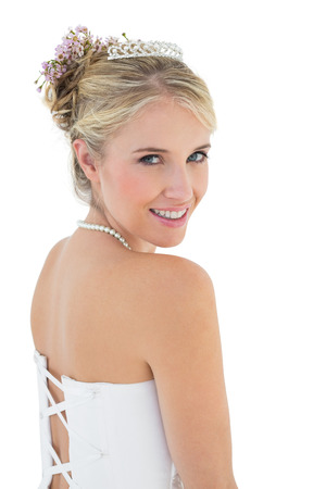 off the shoulder: Portrait of young bride smiling over white background Stock Photo