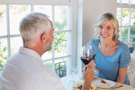 自宅窓際食糧にワイングラスを乾杯熟女カップルの肖像画 写真素材
