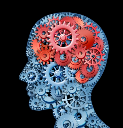 Función de cerebro humano representada por engranajes rojos y azules en la forma de una cabeza que representa el símbolo de la salud mental y neurológica de funcionamiento en los pacientes con discapacidad depresión.
