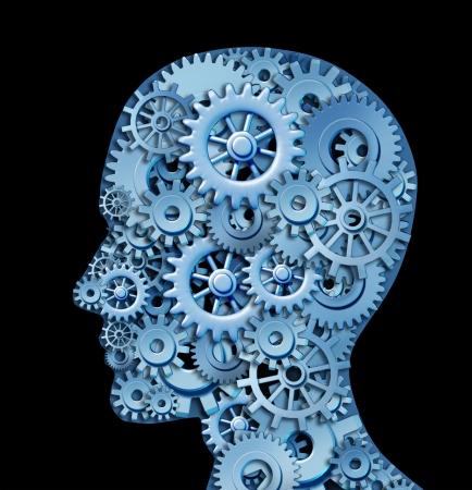 Menselijke intelligentie en hersenen functie vertegenwoordigd door tandwielen en radertjes in de vorm van een hoofd het symbool van de psychologie met psychische en neurologische functioneren zoals in het geval van een patiënt met depressie mentale handicap vertegenwoordigen. Stockfoto