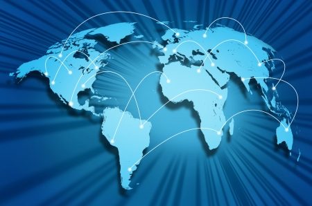 Global internet connections around the world connecting social media sites and web portals from international technology providers and communication hubs. Stock Photo - 9979400
