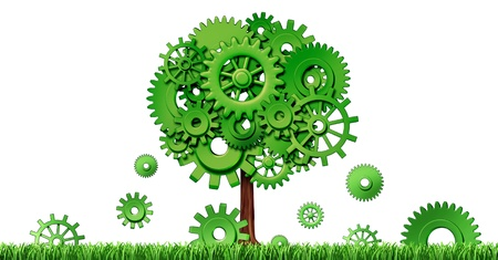 Industrial growth in manufacturing and planning for investments and seed money for future opportunities in emerging markets representing growth and prosperity with a green tree made of cogs and gears.