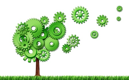 Investing in new emerging markets representing new investments in industry and seed money for business represented by a tree made of cogs and gears that are flaoting plant floating in the air. photo