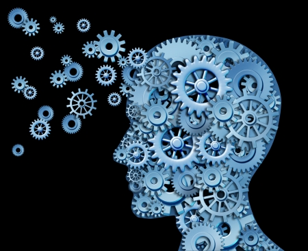 brain function: Leadership and education symbol represented by a human head shape with gears and cogs representing the concept of intelectual property being transfered and shared with others.
