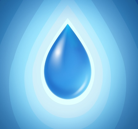 hydrate: Blue drop on a radial background representing pure clean water.