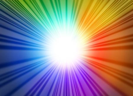 radiating: Arcobaleno raggi bagliore di luce rappresentato da una stella scoppiata blu brillante tonalit� verdi rossi e viola che si irradiano dal centro.