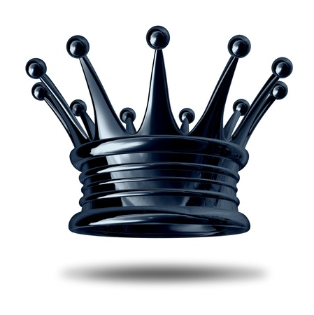 royalty: Gold crown representing royalty and wealth as an award symbol for nobility and leadership isolated on white. Stock Photo