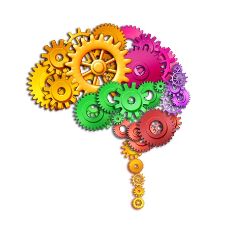 oblongata: Brain lobe sections in multi color divisions of mental neurological lobes represented by gears and cogs showing the medical concept of neurological function of the human mind isolated on white.