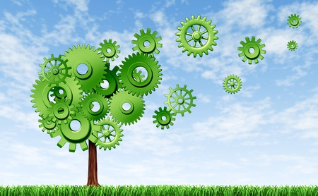 emerging: New markets representing new investments in industry and seed money for business represented by a tree made of cogs and gears that are flaoting finding different opportunities.