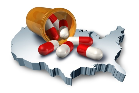 dosaggio: Simbolo assistenza sanitaria americana, rappresentato da una bottiglia di pillola con capsule medicina sulla mappa 3d di Stati Uniti mostrando il concetto di sistema farmaceutico e medico ospedale. Archivio Fotografico