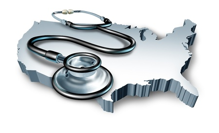 American health symbol represented by a doctor stethoscope on a 3d map of the United States of America showing the hospital care received in U.S. medical clinics and pharmacies. Stock Photo - 10104517