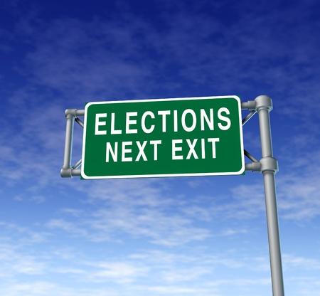 democracia: Las elecciones y el tráfico de votación símbolo de la muestra que representa el derecho democrático al voto en una campaña electoral a la presidencia u otro cargo electo de poder en una democracia libre. Foto de archivo