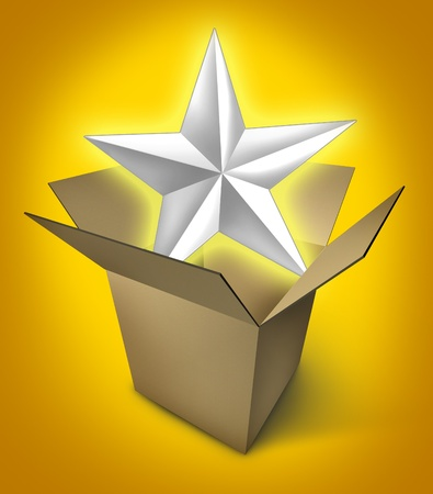 present presentation: New star product represented by a glowing star in an opened cardboard box showing the presentation of an important event featuring an important gift. Stock Photo