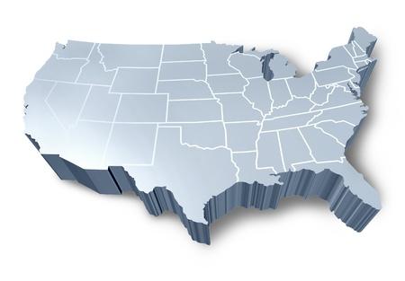USA 3D-Karte isoliert Symbol mit einem weißen und grauen dimensional Vereinigten Staaten vertreten. Standard-Bild - 10104524