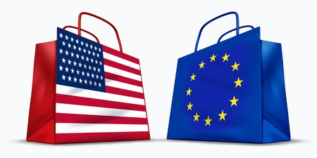 America and the European Union trade symbol represented by two red shopping bags with the American and the Europe flag with stars and stripes symbol showing the concept of trading. photo