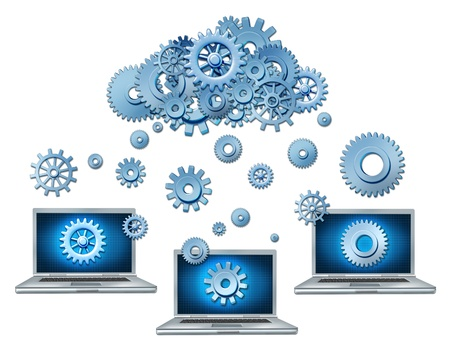 IT: Cloud computing symbol represented by a cloud made of gears and cogs raining down on laptop computers that are connected to the virtual servers.