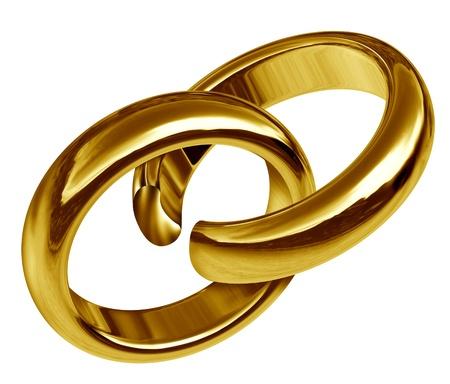 scheidung: Scheidung und Trennung Symbol durch zwei miteinander verbundene goldene Ringe, die einen Bruch in der Union zeigt das traurige Ergebnis einer zerbrochenen Beziehung und brechen w�hrend der Ehe oder Verlobung vertreten hat.