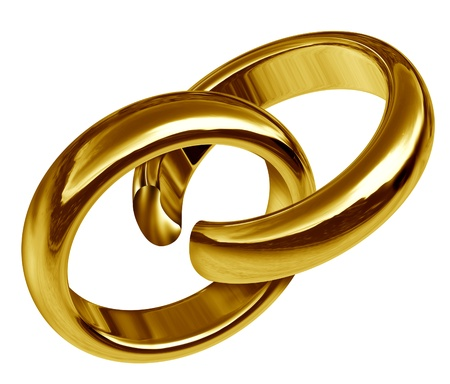 Divorce and separation symbol represented by two linked gold rings that has a break in the union showing the sad result of a broken relationship and break up during marriage or engagement. Banque d'images