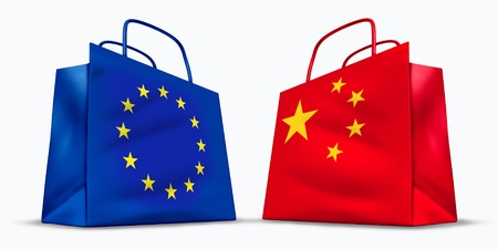 china flag: China and the European Union trade symbol represented by two shopping bags with the Chinese and the Europe flag with the stars symbol showing the concept of trading goods and services in international business sales. Stock Photo