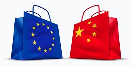 bandera de portugal: China y el s�mbolo de Comercio de la Uni�n Europea, representada por dos bolsas de la compra con los chinos y la bandera de Europa con el s�mbolo de estrellas que muestra el concepto de comercio de bienes y servicios en las ventas de negocios internacionales.