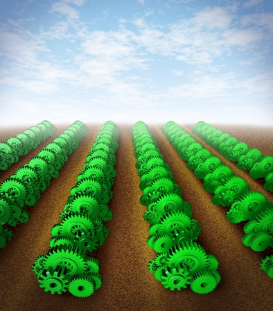 foresight: Growing success  and investing for growth with profit and success represented by green gears and cogs as crops on an agricultural farm land showing the concept of planning and strategy in the factory manufacturing industry and business. Stock Photo